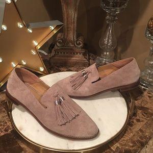 25123ccea3b Franco Sarto Shoes - Franco Sarto Suede Hadden Taupe Tassel Loafer 9